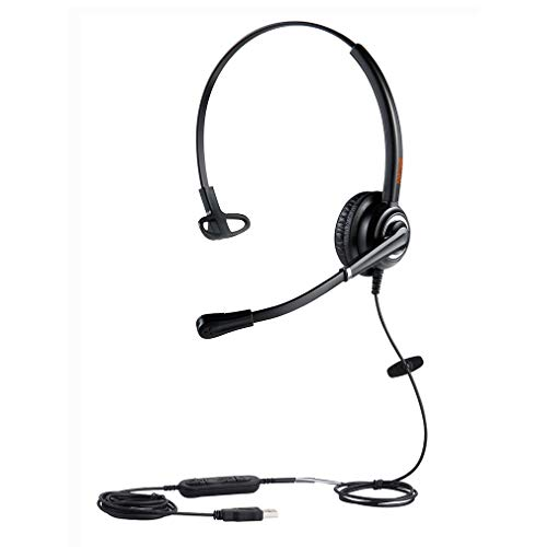 Emaiker 1 Ear USB PC Headset with Noise Cancelling Mic, Call Center Office Headphone with Microphone for Laptop Computer, Works for Skype, Dragon, Teams, Zoom, Jabber Softphone Meeting,Webinar