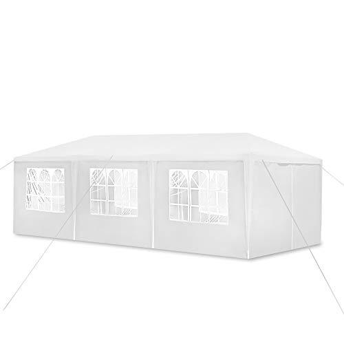 Aufun Pavillon Wasserdicht 3x9 m Weiß Gartenpavillon mit 8 Seitenwände Polyethylen Bierzelt Tür mit Reisverschluss für Garten Party Hochzeit Picknick Markt