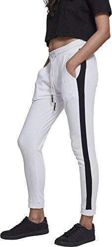 Urban Classics Ladies Interlock Joggpants Pantalon de Sport, Blanc (Blanc/Noir 01248), S Femme