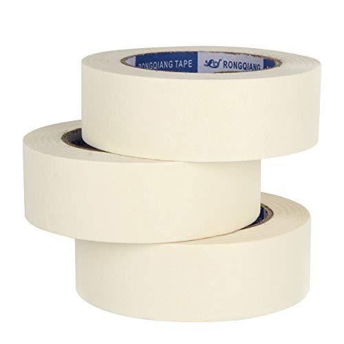 DLOPK la cinta de enmascarar es adecuada para todo tipo de industria de la decoración, industria electrónica, industria, calzado y otros usos, con buena cobertura y protección 38MM x 50M (3 unidades)