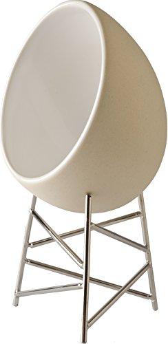 Alessi Cgh01 Le Nid Ramequin Pour Cuire et Servir Les Œufs en Céramique Stoneware, Supports en Acier Inoxydable 18/10