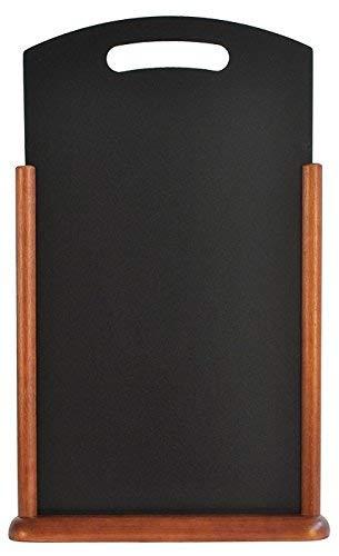 Securit Menu de table en ardoise avec finition laquée poignée et cadre 21 x 45 cm Marron foncé