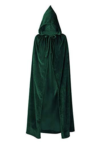 Century Star Women's Full Length Velvet Hooded Cape Unisex Cloak Cape Halloween Christmas Cloak Costumes Party Cape Dark Green One Size