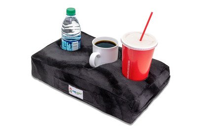 Cup Cozy Pillow (Black)- As Seen on TV-The world's BEST cup holder! Keep your drinks close and prevent spills. Use it anywhere-Couch, floor, bed, man cave, car, RV, park, beach and more!