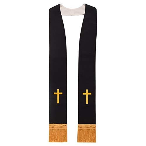 BLESSUME Church Clergy Pastor Reversible Stole (White and Black 2)