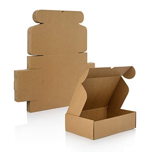 Pack 25 Cajas Carton Automontables para Ecommerce Color Marron Kraft I 25,5cm x 18 cm x 7,5 cm I Cajas Envios Paquetes, Cajas de Carton para Regalo - Caja cartón pequeña para envios postales