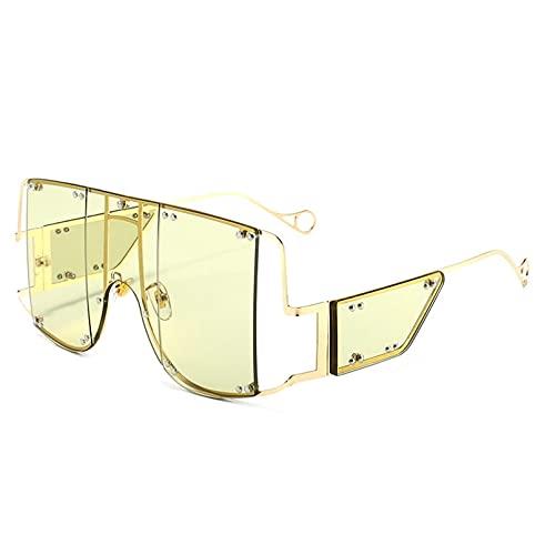 Gafas De Sol Cuadradas para Mujer, Nuevo Espejo De Gran Tamaño, Gafas De Sol para Hombre, Marca De Lujo, Remache De Metal, Tendencia, Gafas Femeninas Únicas