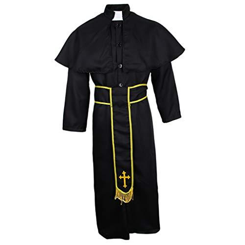 Herren Robe Umhang Mönchskutte Mittelalter Kleidung Kutte Priester Kostüm für Halloween Fasching Karneval Mottoparty - XL
