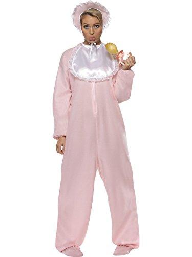Smiffys Damen Baby Kostüm, Jumpsuit, Haube und Lätzchen, Größe: One Size, 28601
