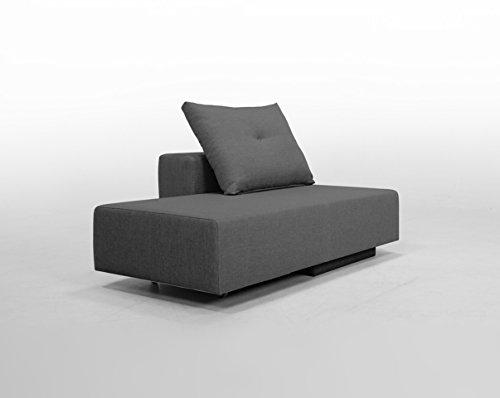 FEYDOM Minisofa BonBon2 - kleines Sofa Recamiere Schlafsofa - pflegeleichter weicher Mikrofaserstoff, Chaiselongue grau