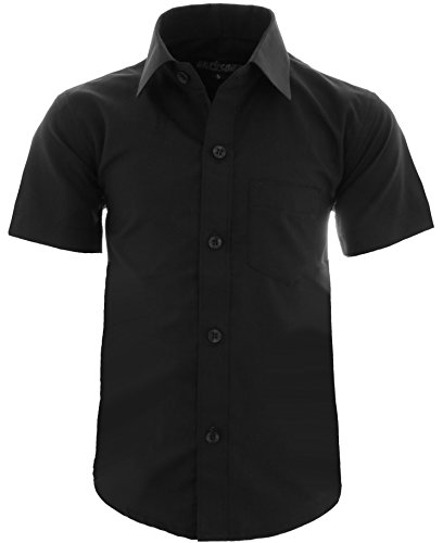GILLSONZ A0 vDa New Kinder Party Hemd Freizeit Hemd bügelleicht Kurz ARM 15 Farbe Größe 86-170 (158/164, Schwarz)