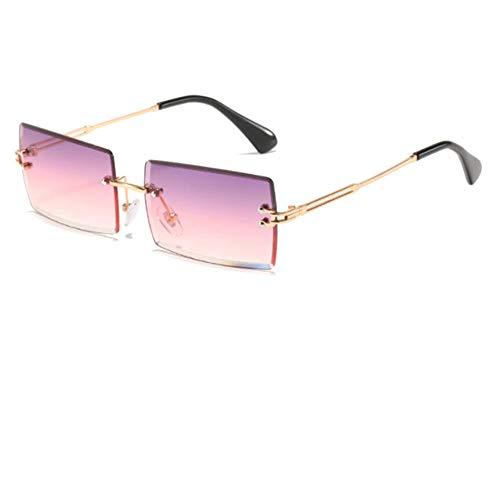 YTJHFA Occhiali da sole rettangolari Donna Retro quadrati Uomo Occhiali senza montatura Vintage Trendy Piccoli occhiali Montature in metallo Lenti colorate