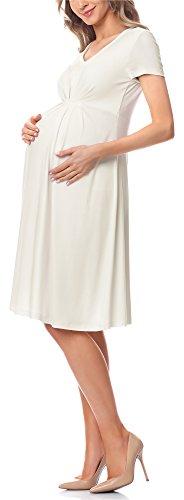 Be Mammy Damska Sukienka Ciążowa Sukienka Ciążowa BE20-217 (Ecru, L)