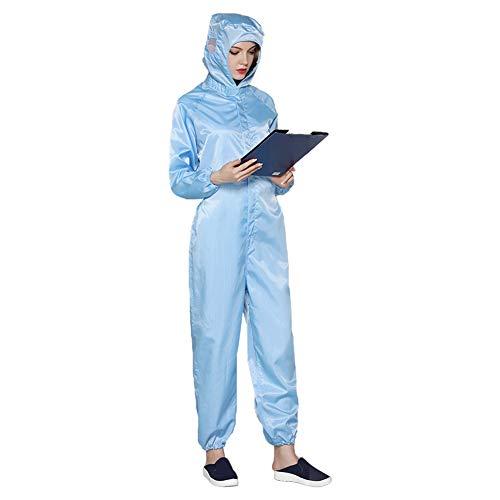 Fhong Unisex riutilizzabile tuta protettiva, tuta da lavoro con cappuccio, lavabile e durevole Blu XXL