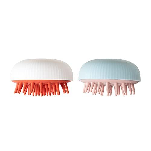 MARMODAY Champú masajeador cepillo para la eliminación de la caspa impermeable ducha cuero cabelludo depurador herramienta cerdas de silicona 2 piezas blanco azul