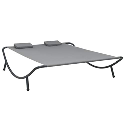 Tidyard Doppel Sonnenliege Doppelliege Loungebett Gartenliege für 2 Personen Liegestuhl Relaxliege für Garten Terrasse Strand, Stoff Anthrazit 200 x 173 x 45 cm
