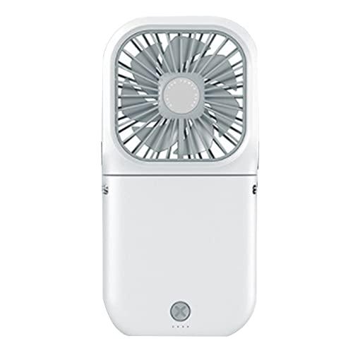 ZUIZUI Handheld USB Desktop Silent Power Bank Ventilador, Ventilador Plegable Simple, Mini Portátil Plegable 180 Grados USB Recargable 3000Mah Cuello Colgante Mini Ventilador Eléctrico