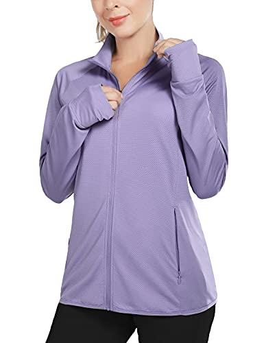 BALEAF Women's UPF 50+ Jackets Lightweight Full Zip Sun Shirts Running Long Sleeve Zip Pockets Outdoor
