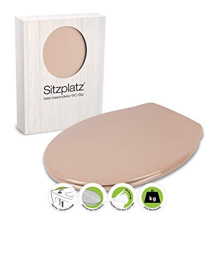 SITZPLATZ® Antibakterieller WC-Sitz Siena   Toilettendeckel in Bahama-Beige   Duroplast Toilettensitz   Fast-Fix-Befestigung   Edelstahlscharnier   Universale O-Form   Oval   Beige   21506 0