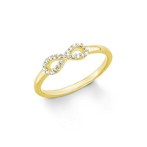 s.Oliver Damen-Ring Infinity Unendlichkeitszeichen Silber vergoldet Zirkonia weiß Gr. 52 (16.6)-2012485