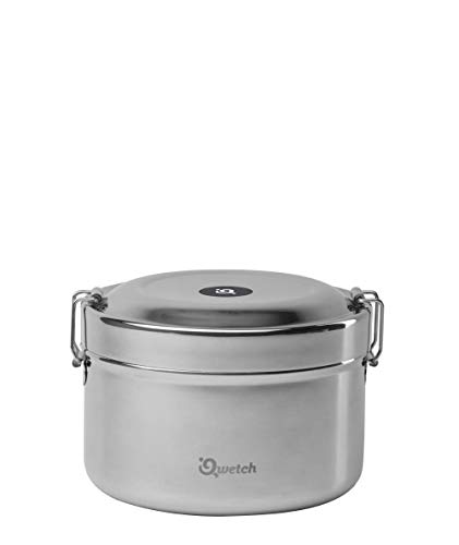 Qwetch - Boite repas Bento Inox double paroi (intérieure et extérieure) 850 ml - Maintient votre repas pendant 4h au chaud et 6h au froid - Hermétique - Pour alimentation solide