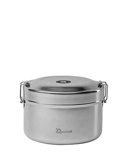 Qwetch - Boite repas Bento Inox double paroi (intérieure et extérieure) 850 ml - Maintient votre repas pendant 4h...