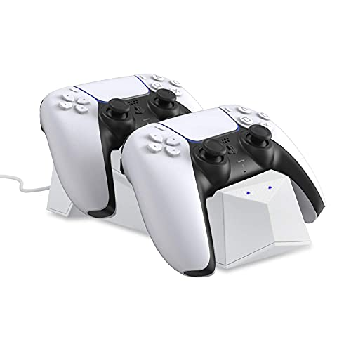 Wasserstein Charging Station Compatible with Sony Playstation 5 DualSense Controller - Make Your Gaming Experience Convenient with The PS5 Controller Charging Station (White) (Renewed)