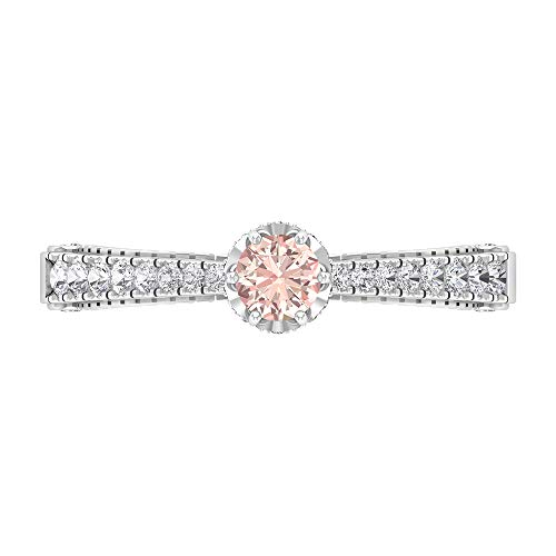 Vintage Lab Created Morganite Ring, Diamond Ring, Gold Solitaire Ring with Side Stones (4 MM Lab Created Morganite), White Gold, Morganite Lab Created, Size:UK N1/2