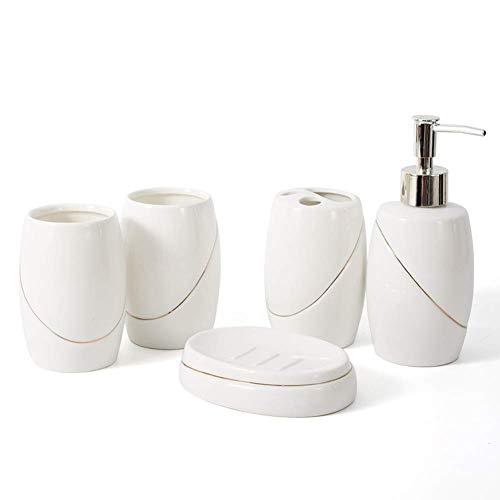 COOLLL Brosse et Support, Contour en Or Blanc céramique Ensemble d'accessoires de Salle de Bain Cinq pièces Bouteille de Lotion Porte-Brosse à Dents Bouche Tasse boîte à Savon