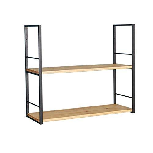 JCNFA planken massief hout muur plank ijzer boekenkast muur mount woonkamer slaapkamer muur kast decoratieve plank, 4 maten 39.37 * 7.87 * 27.55in Wood Color