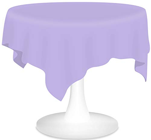 Lavender Plastic Tablecloths 12 Pack Disposable Table Covers 84 Inches Circle Shower Party Tablecovers PEVA Vinyl Table Cloths for Round Tables up to 6 ft and Picnic BBQ Birthday Wedding Banquet