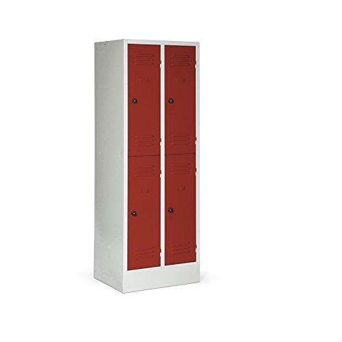 Stabilux doppelstöckiger Spind mit Sockel, 2 Abteile, 4 Fächer, Abteilbreite 300 mm, Sicherheits-Drehriegel, Korpus lichtgrau, Türen rot