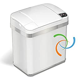 iTouchless 2.5 Gallon Bathroom Touchless Trash Can with Odor Filter and Fragrance, Pearl White, Automatic Sensor Lid, Home or Office, 9.5 Liter