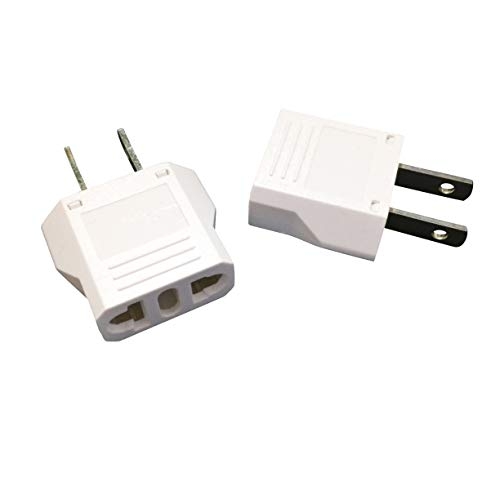 Unidapt EU Europe to US USA Travel Plug Adapter Power Converter AC (Pack of 2)