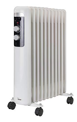 Bimar HO411 Termosifone elettrico, Radiatore ad olio Basso Consumo, calorifero ad olio con 11 Elementi e 5 Canali di Circolazione, Termostato Regolabile, 3 potenze di Riscaldamento, Trasportabile