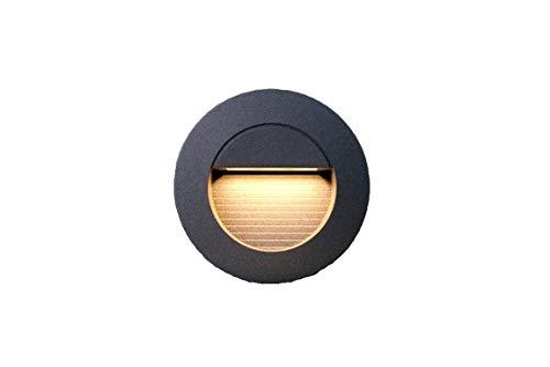 LEDmich® Applique murale ronde encastrable à LED Blanc chaud 1,2 W Pour éclairage de cage d'escalier à l'intérieur et à l'extérieur Éclairage d'escalier.