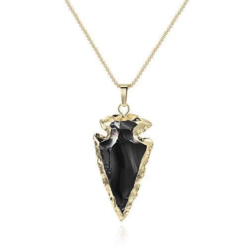 COAI Collar de Acero Inoxidable con Colgante Pequeño Punta de Flecha de Obsidiana
