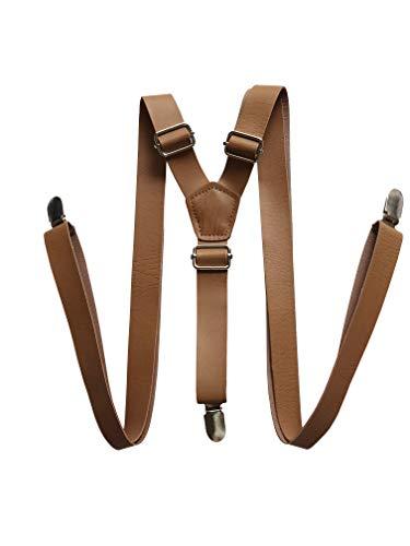 YEENI Vintage café café rustique brun brun foncé brun large pu bretelles en cuir pour hommes bretelles (marron)