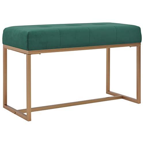 vidaXL Banco Asiento Silla Sillón Taburete Banquillo Mueble Mobiliario de Hogar Salón Cocina Bar Casa Patio 80 cm Terciopelo Verde