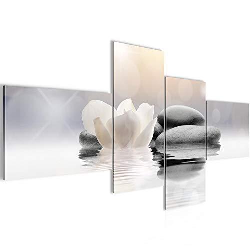 Bilder Blumen Tulpen Wandbild 200 x 100 cm Vlies - Leinwand Bild XXL Format Wandbilder Wohnzimmer Wohnung Deko Kunstdrucke Grau 4 Teilig - MADE IN GERMANY - Fertig zum Aufhängen 506041a
