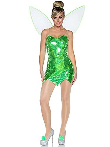 Eghunooye Disfraz de hada de bosque de Halloween para mujer, sexy, con lentejuelas, vestido corto de princesa con alas, verde oscuro, S