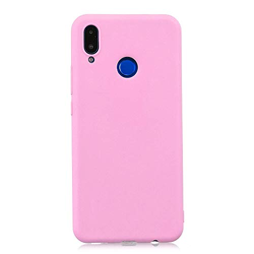 cuzz Funda para Huawei Nova 3i / P Smart Plus+{Protector de Pantalla de Vidrio Templado} Carcasa Silicona Suave Gel Rasguño y Resistente Teléfono Móvil Cover-Rosa Oscuro