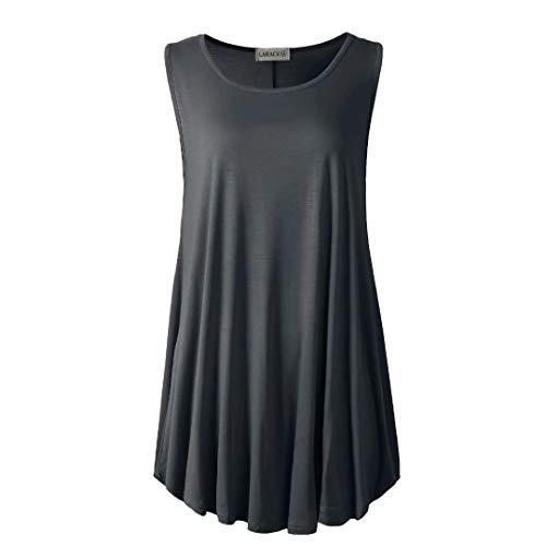 LARACE Women Solid Sleeveless Tunic for Leggings Swing Flare Tank Tops (2X, Deep Gray)