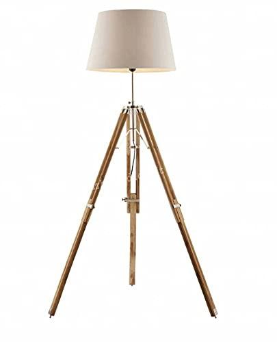 Lámpara de pie con trípode náutico, acabado de la base: natural y cromado (pantalla de la lámpara no está incluida)