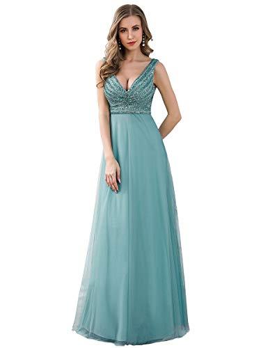 Ever-Pretty Vestido de Dama de Honor Fiesta Largo Mujer Tul Lentejuelas A-línea Escote V 00785