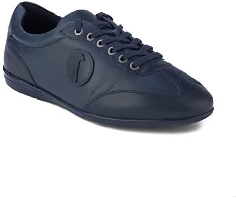Versace Collection Men s Leather Medusa Low Top Sneaker Shoes Tonal Navy Blue product image