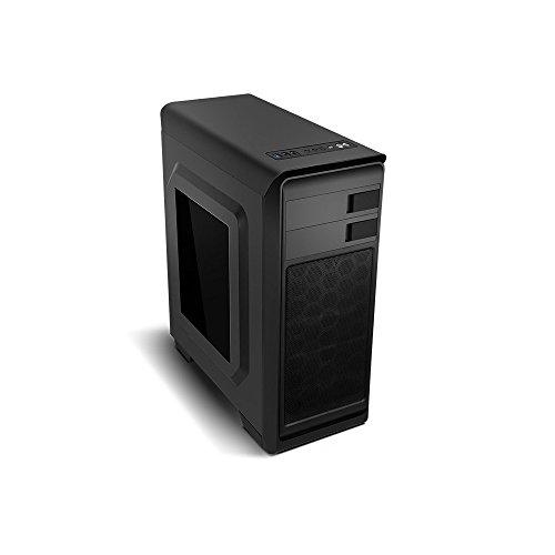 Nox Modus -NXMODUSB- Semitorre ATX y micro ATX, USB 3.0, ventana lateral transparente, incluye un ventilador 120mm LED azul, espacio para 3 discos duros y dos ventiladores, color negro