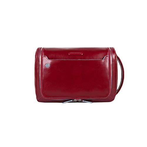 Piquadro Move 2 Beauty Case da Viaggio, Pelle, Rosso, 24 cm