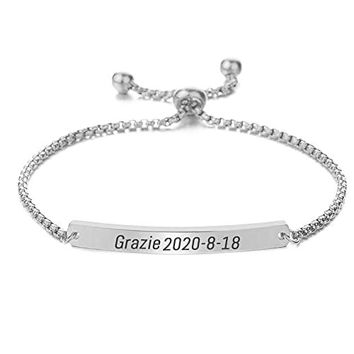 SHUMEI Long bracelet personnalisé pour femme avec texte personnalisable