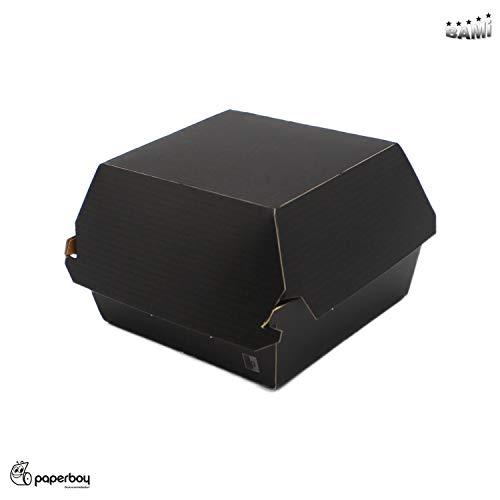 BAMI 200 Stück Hamburgerboxen Burgerboxen Take-Away Boxen aus Vollpappe - Schwarz, 10x10x8cm -92mm-, biologisch abbaubar, kompostierbar